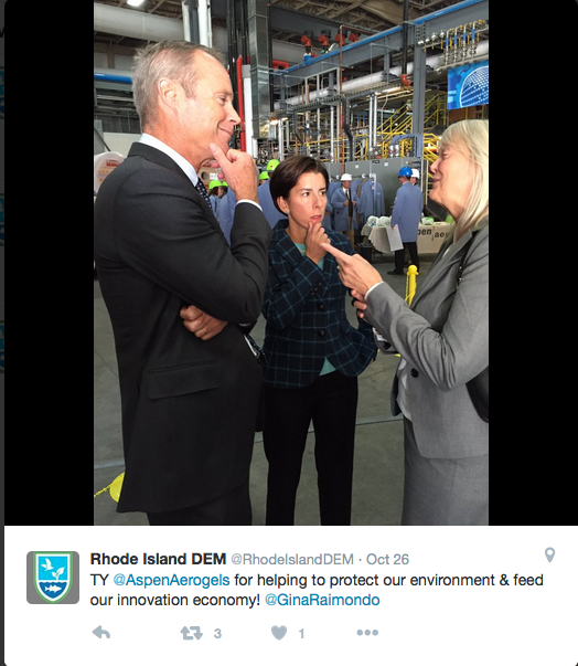 This tweet was sent out after the recent celebration of the expansion of an East Providence business — an event attended by Gov. Gina Raimondo, middle, and DEM director Janet Coit, right. (DEM Twitter)