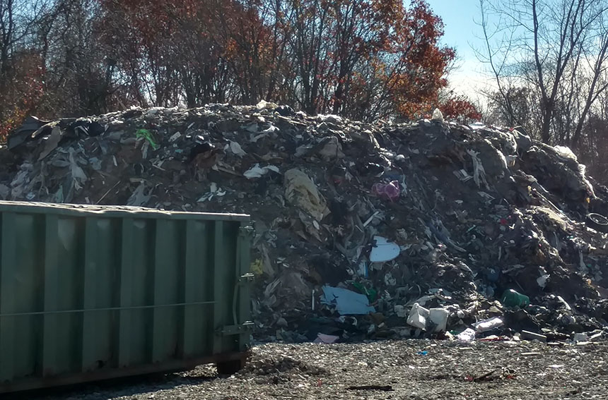 Construction debris recycler TLA/Pond View is still open even after the city of East Providence and the state have tried to close it. Now another recycling-like business is operating in Rumford and residents aren't happy. (Tim Faulkner/ecoRI News photos)