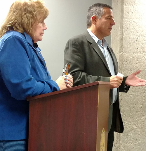 Cathy Goulin, left, owner of Express Mattress Recyclers, and Preston Halperin, owner of the building on Bourne Avenue, spoke at a recent public hearing, saying the company doesn't recycle. It's operating in a special business district that prohibits recycling businesses.
