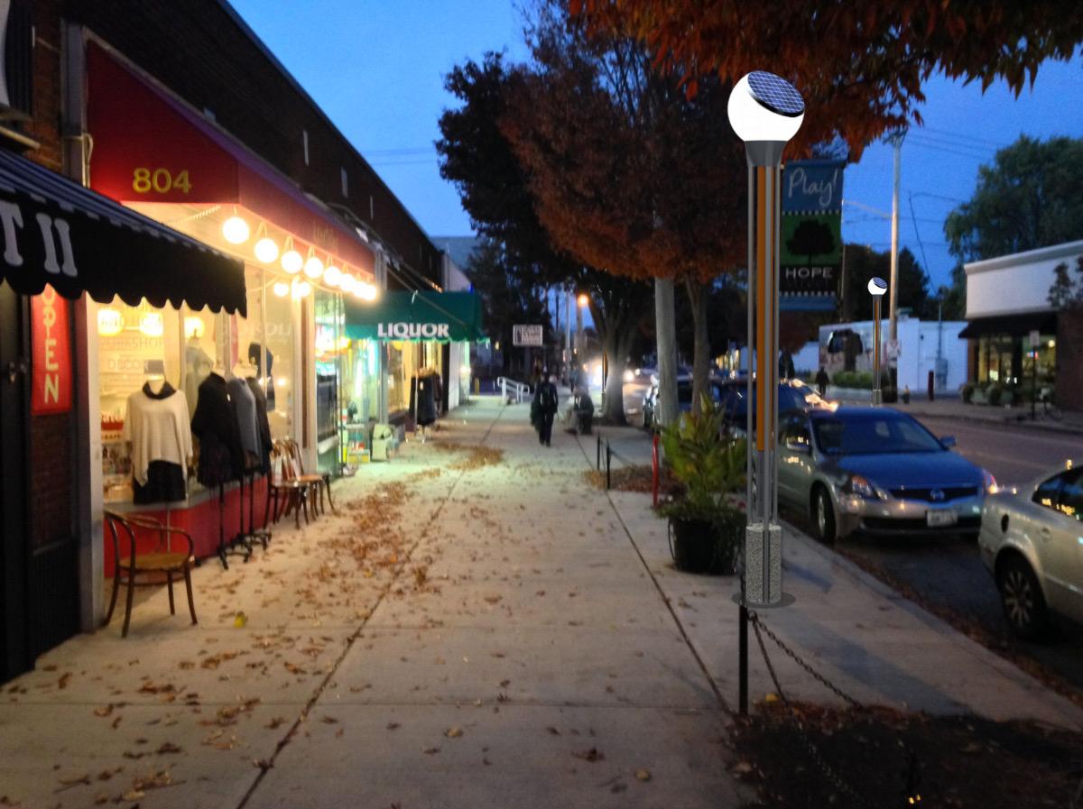 Rendering of a solar-powered street lamp. (Hope Street Merchants Association)