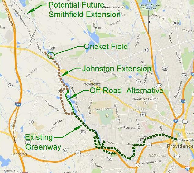 If Johnston votes to begin the concept-design phase, various routes will be considered, presented to the public and modified over several years. The town will then vote on whether to build any of the resulting options. This map shows two potential routes, but neither has been significantly researched or officially proposed. (WRWC)