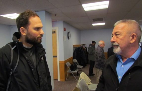 Nick Katkevich, left, of Fight Against Natural Gas was denied the right to litigate in the Burrillville power-plant decision. Paul Bolduc lives across from the proposed entrance to the project. He was granted intervenor status. (Tim Faulkner/ecoRI News)