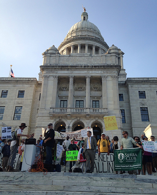 Last spring, the local chapter of the Sierra Club held a rally at the Statehouse to stress the importance of environmentalism and social justice. (ecoRI News)