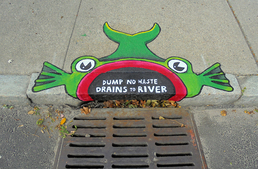 Last year, the Woonasquatucket River Watershed Council worked with artist and educator Brent Bachelder and The Met School to create storm-drain murals, such as this one on Valley Street in Providence, to educate people about stormwater pollution. Volunteer efforts, however, can only account for a slice of Rhode Island's environmental protection needs. (Brent Bachelder)