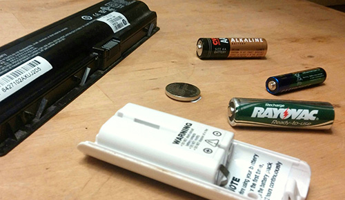 It may feel uncomfortable, but some single-use batteries can be disposed of in the trash. Many batteries, though, are considered household hazardous waste by the federal government and/or have value as recyclables; these should be disposed of at battery-collection events or locations. (Kevin Profit/ecoRI News)
