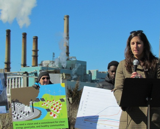 Sylvia Broude of the Toxics Action Center recently announced a new vision for the coal-fired Brayton Point Power Station. (Tim Faulkner/ecoRI News photos)