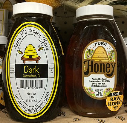 A Texas A&M University researcher has found that most of the honey sold in the United States and Canada isn't what is printed on the label. All of the honey sold by Annie B's Honey Farm is from a '200-mile radius,' the owner told ecoRI News last year. (Annette Birman)