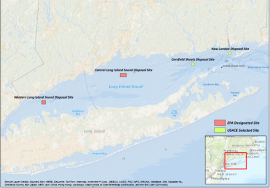 There are currently four ocean dredged material disposal sites in Long Island Sound, all in Connecticut territorial waters and spread from west to east: Western Long Island Sound, Central Long Island Sound, Cornfield Shoals and New London. (EPA)
