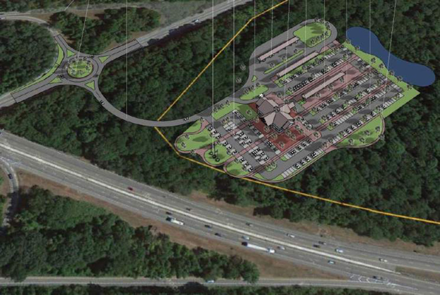 The state's proposed travel center would be built on 20 acres of forest in Hopkinton. (RIDOT)