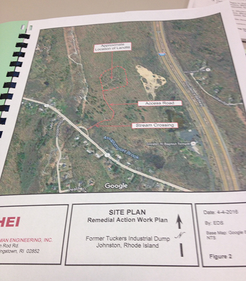 Documents on file at DEM show that the site of the proposed Citizens Bank corporate campus in the Johnston woods is largely forested, with small homes along Greenville Avenue, Route 5, and bordered to the west by utility easements. The former landfill on the 109-acre property, the area encircled in red above, is about 300 yards west of Interstate 295 and half a mile north of Route 5. (Frank Carini/ecoRI News)