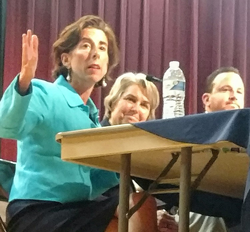 Gov. Gina Raimondo told Burrillville residents to support the process for the vetting of the proposed natural-gas power plant. (Tim Faulkner/ecoRI News)