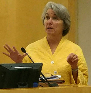 Carol Grant, director of the Office of Energy Resources, said her office will study climate-emission claims made by Invenergy, builder of the proposed fossil-fuel power plant in Burrillville, R.I. (Tim Faulkner/ecoRI News)