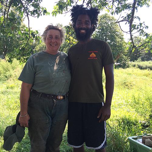 Christina Dedora and Jamhal Latimer at Blue Skys Farm in Cranston, R.I. (Leigh Vincola/ecoRI News)