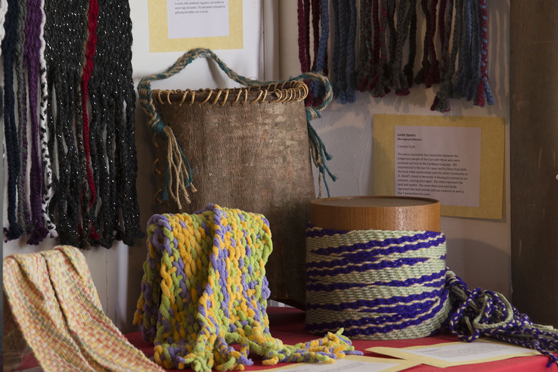 A display at the Tomaquag Museum of Native American craftsmanship.