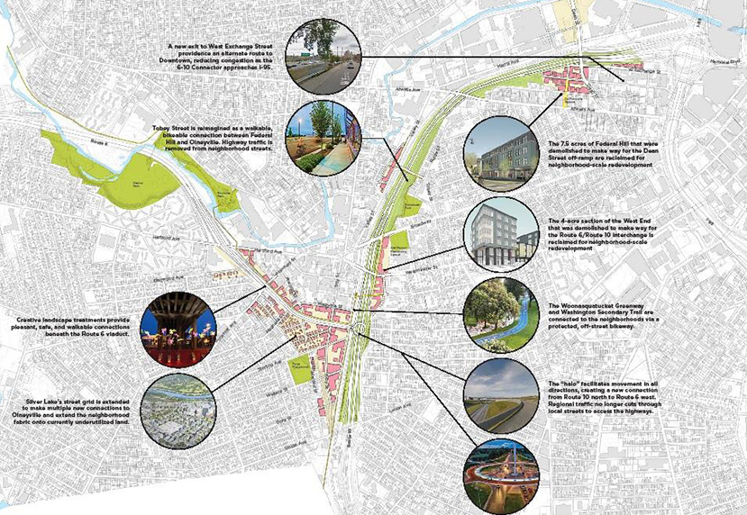 The Providence planning department has its own thoughts on how the revamped 6-10 Connector should look. (City of Providence)