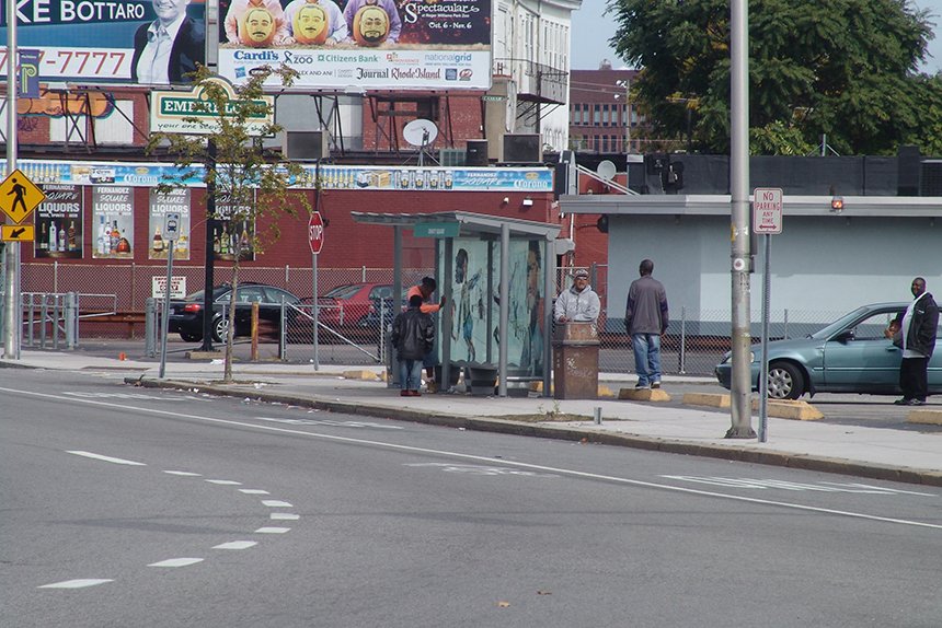 An outreach volunteer called the early-October arrest at this Broad Street bus stop of two men for having open containers of alcohol in public 'foolish.'