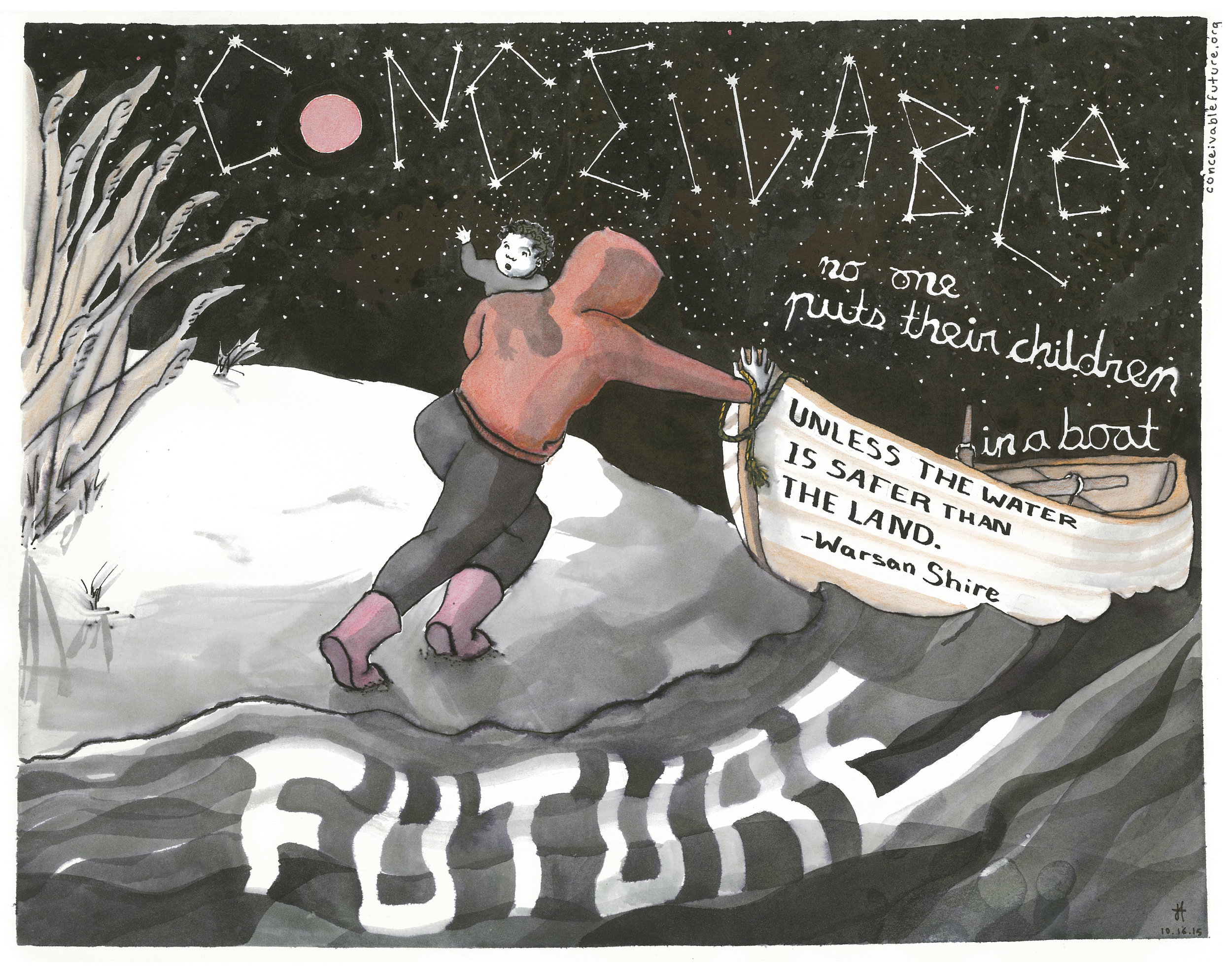 A new project with local connections frames global warming as a reproductive justice issue. (Illustration by Conceivable Future)