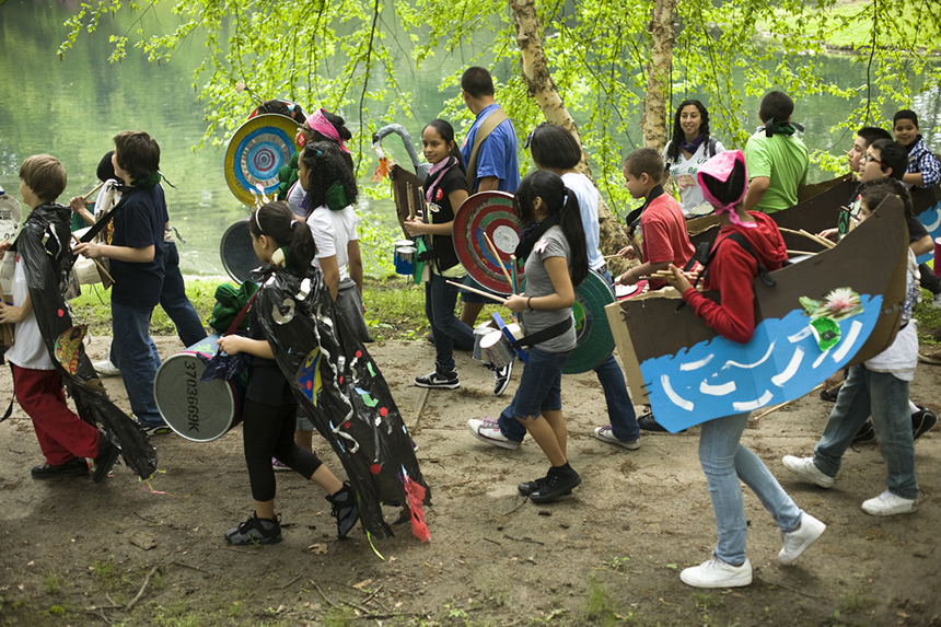 During the past decade thousands of people, most notably local children, have come together to honor a long-abused pond. (UPP Arts)
