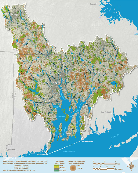 The entire Narragansett Bay watershed contains about 1,090,000 acres, more than 1,700 square miles of land, of which 199,705 acres, 312 square miles, are protected. Of those protected lands, 171,244 acres, 268 square miles, are categorized as protected natural lands, representing 15.7 percent of the entire watershed. (NBEP)