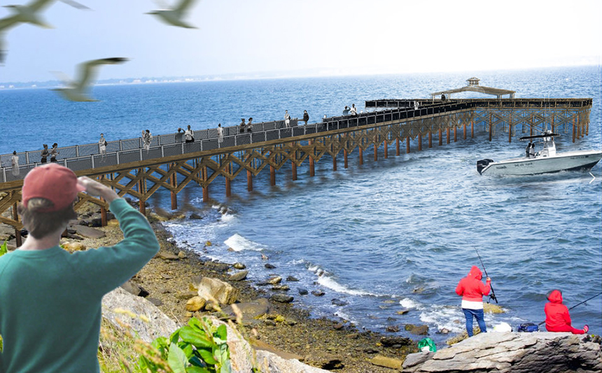 A rendering of the new Rocky Point Pier in Warwick, R.I. (DEM)