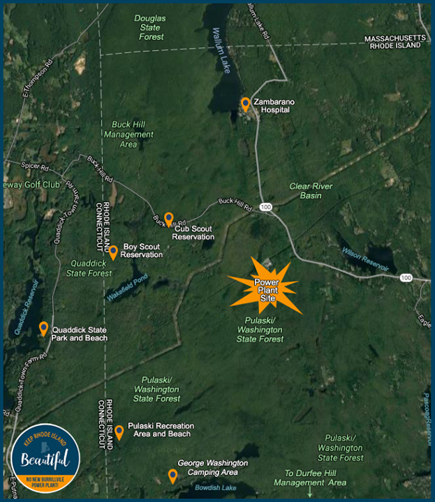The proposed Invenergy fossil-fuel power plan is sited on the property line of the Pulaski/George Washington State Forest. ( Keep Rhode Island Beautiful )
