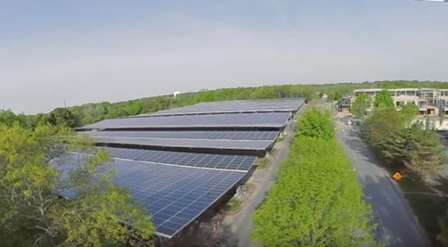 Solar panels cover 800 parking spots at Bristol Community College's Fall River, Mass., campus. (Fuss & O'Neill)