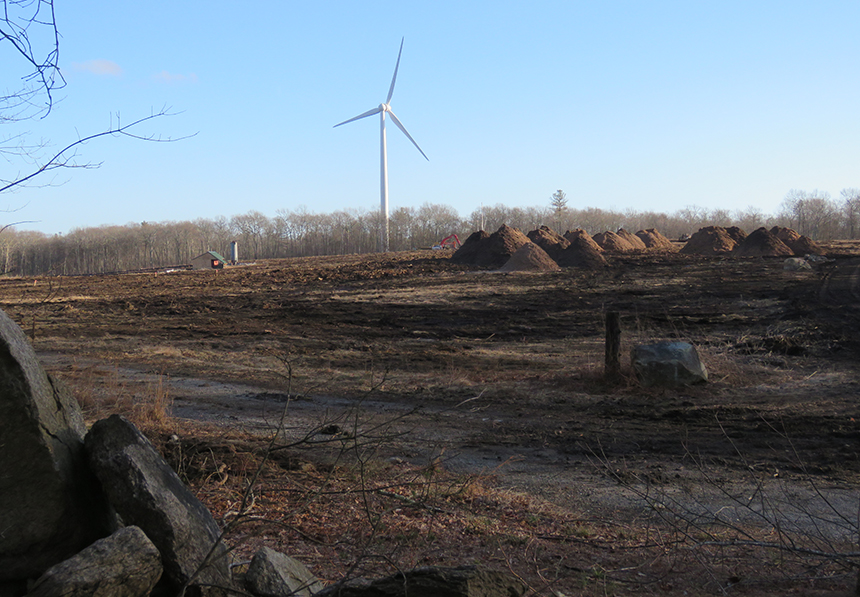 Coventry, R.I., resident John Shields took this photo from his Carrs Trail property this past winter. A solar installation has been proposed for this cleared wooded area.