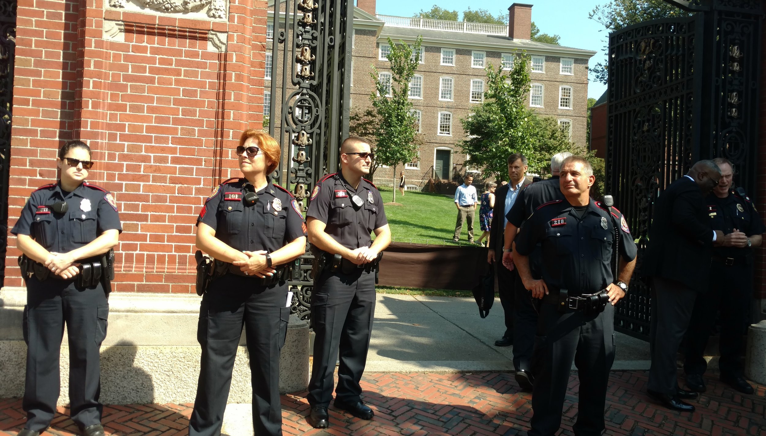 Brown University security at the Van Wickle Gates.
