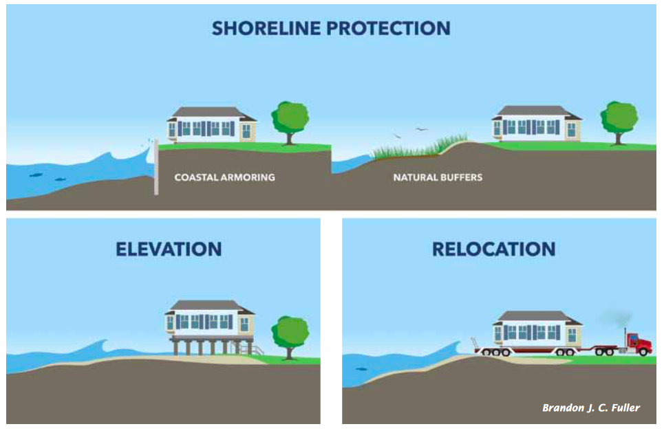 Shoreline protection strategies aim to reduce the chance that property will be flooded or eroded.
