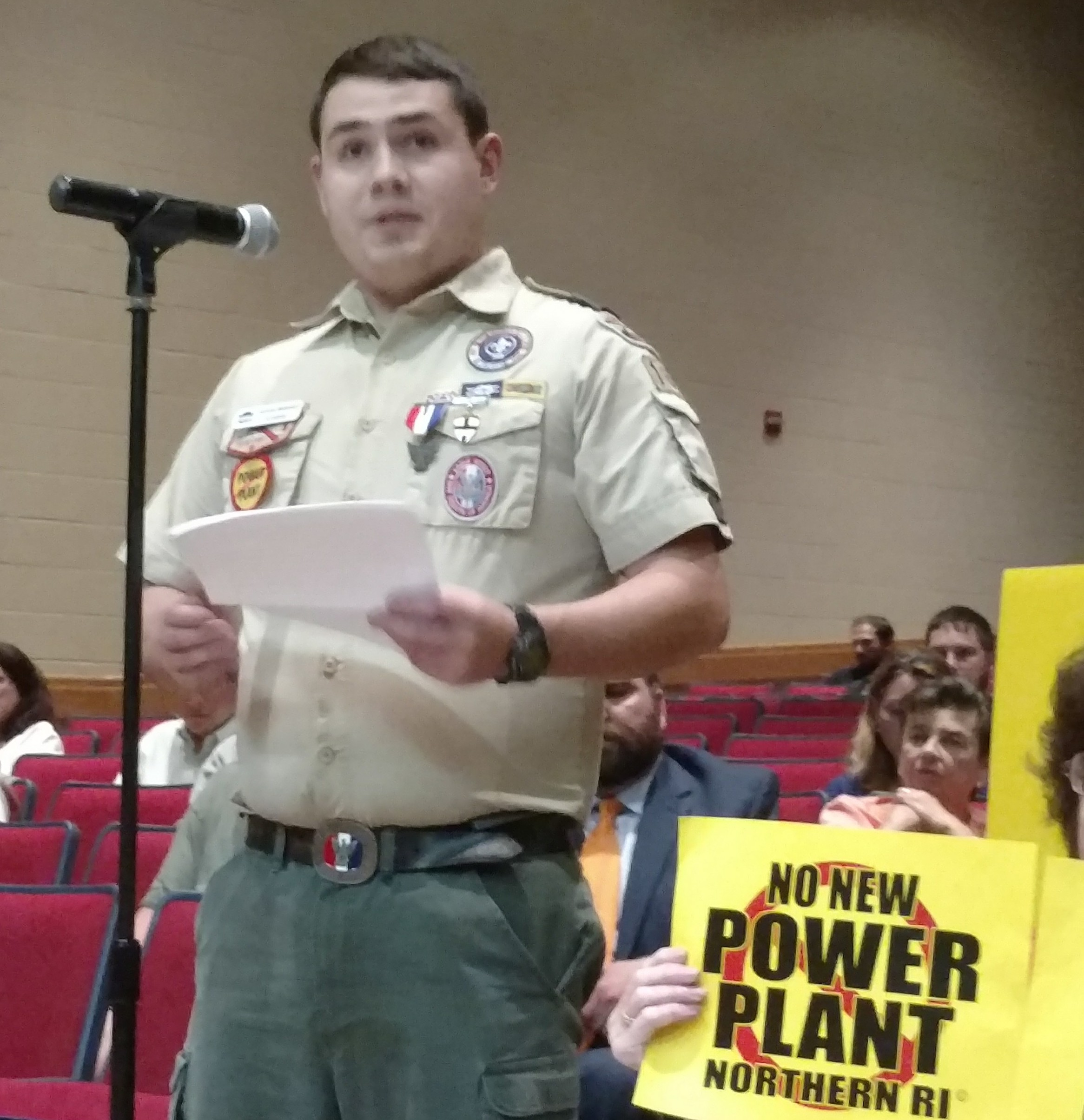 Eagle Scout Nicholas Wattendorf testified in opposition to the power plant.