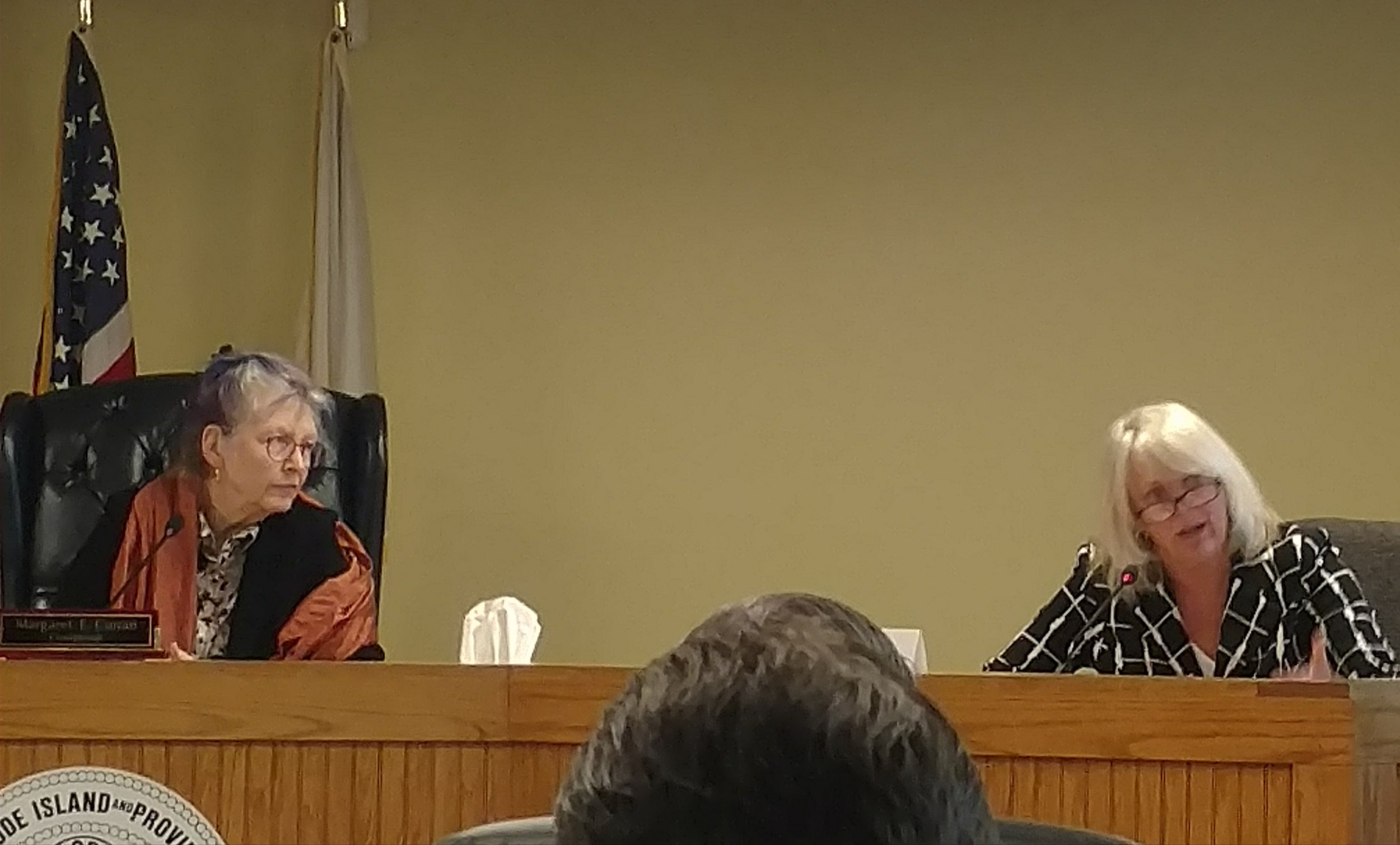Energy Facility Siting Board members Margaret Curran, left, and Janet Coit agreed to give Charlestown a role in the fate of the proposed Clear River Energy Center. (Tim Faulkner/ecoRI News)