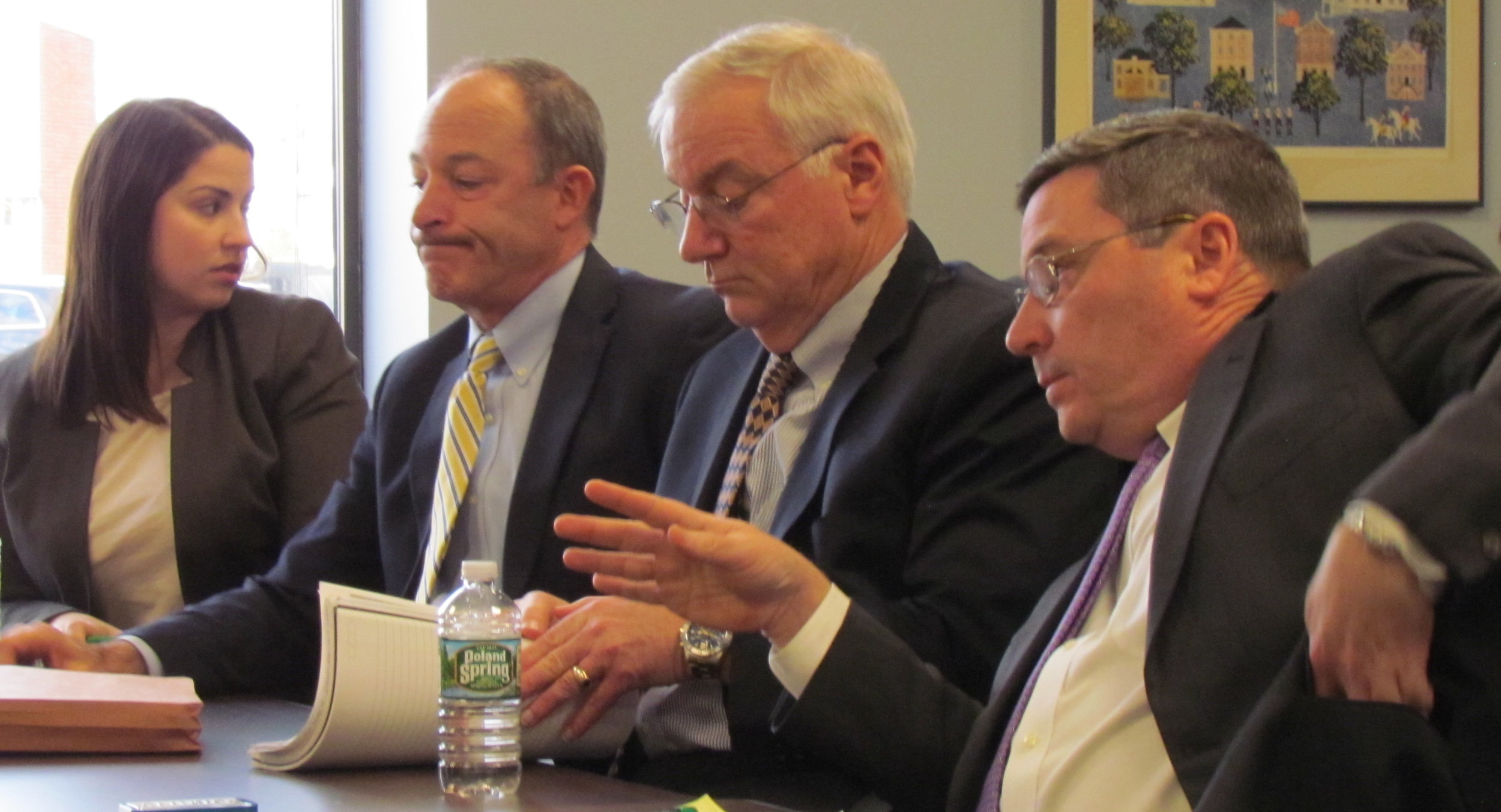 The Invenergy legal team at an Energy Facility Siting Board hearing. (Tim Faulkner/ecoRI News)