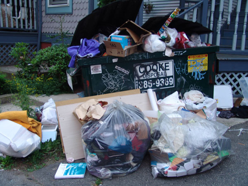 This is what curbsides often look like when Rhode Island university students leave for the year. (ecoRI News)