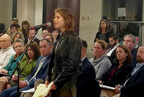Katie Murphy was one of about 20 opponents to speak against the LNG project proposed for the Port of Providence. (Tim Faulkner/ecoRI News)
