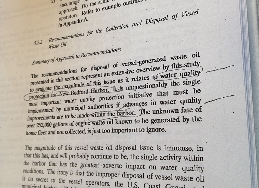 A 1993 report noted that the disposal of vessel-generated waste oil is the single-most important water-quality protection initiative that must be implemented. (Frank Carini/ecoRI News)