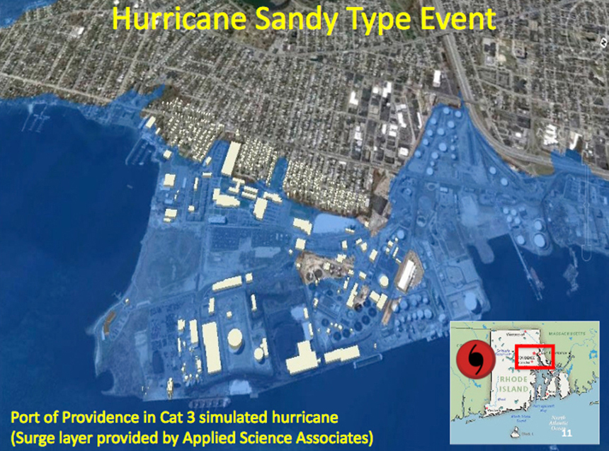 A Category 3 hurricane would flood much of Providence's industrial waterfront, according to severe-weather modeling. (URI)