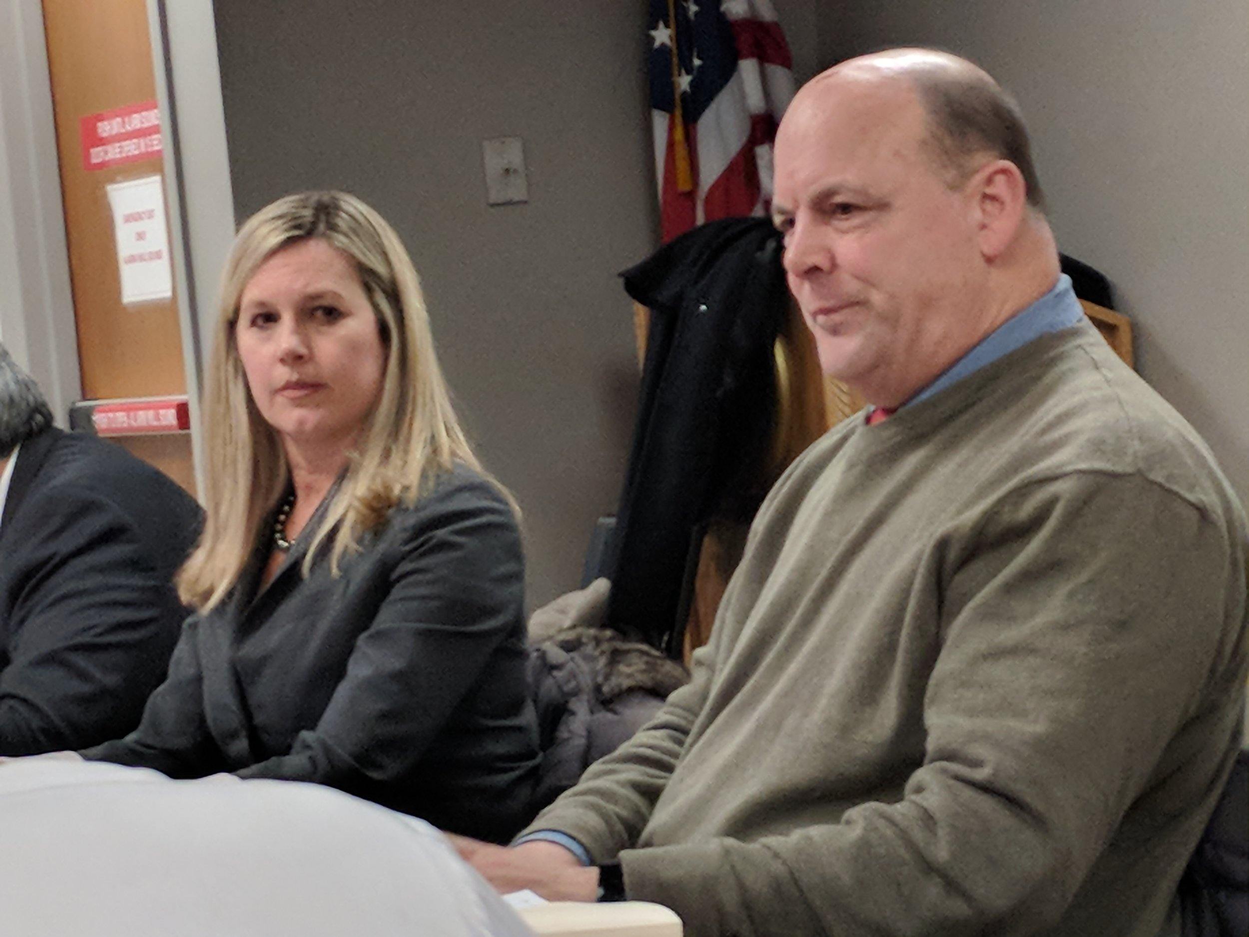 Grover Fugate, right, director of the Coastal Resources Management Council, says Rhode Island is entitled to three reviews of any offshore drilling plan. Also pictured is Jennifer Cervenka, CRMC board chair.(Tim Faulkner/ecoRI News)