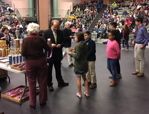 Mark Fontaine handed out awards at the recent Rhode Island Science and Engineering Fair at the Community College of Rhode Island's Warwick campus. (Nicholas Boke/ecoRI News photos)