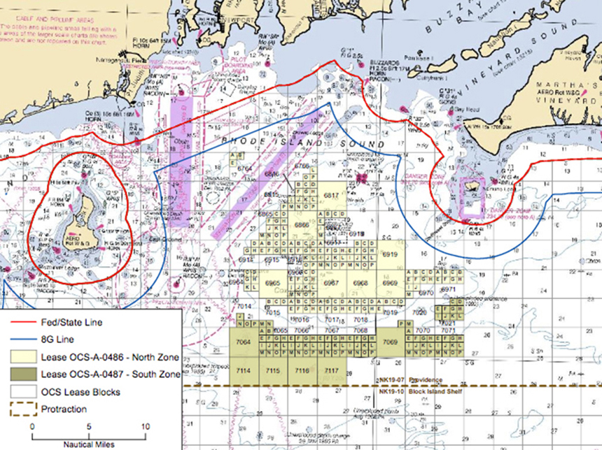 The proposed Revolution Wind facility would be built in a federal offshore wind zone between Block Island and Martha's Vineyard. (BOEM)