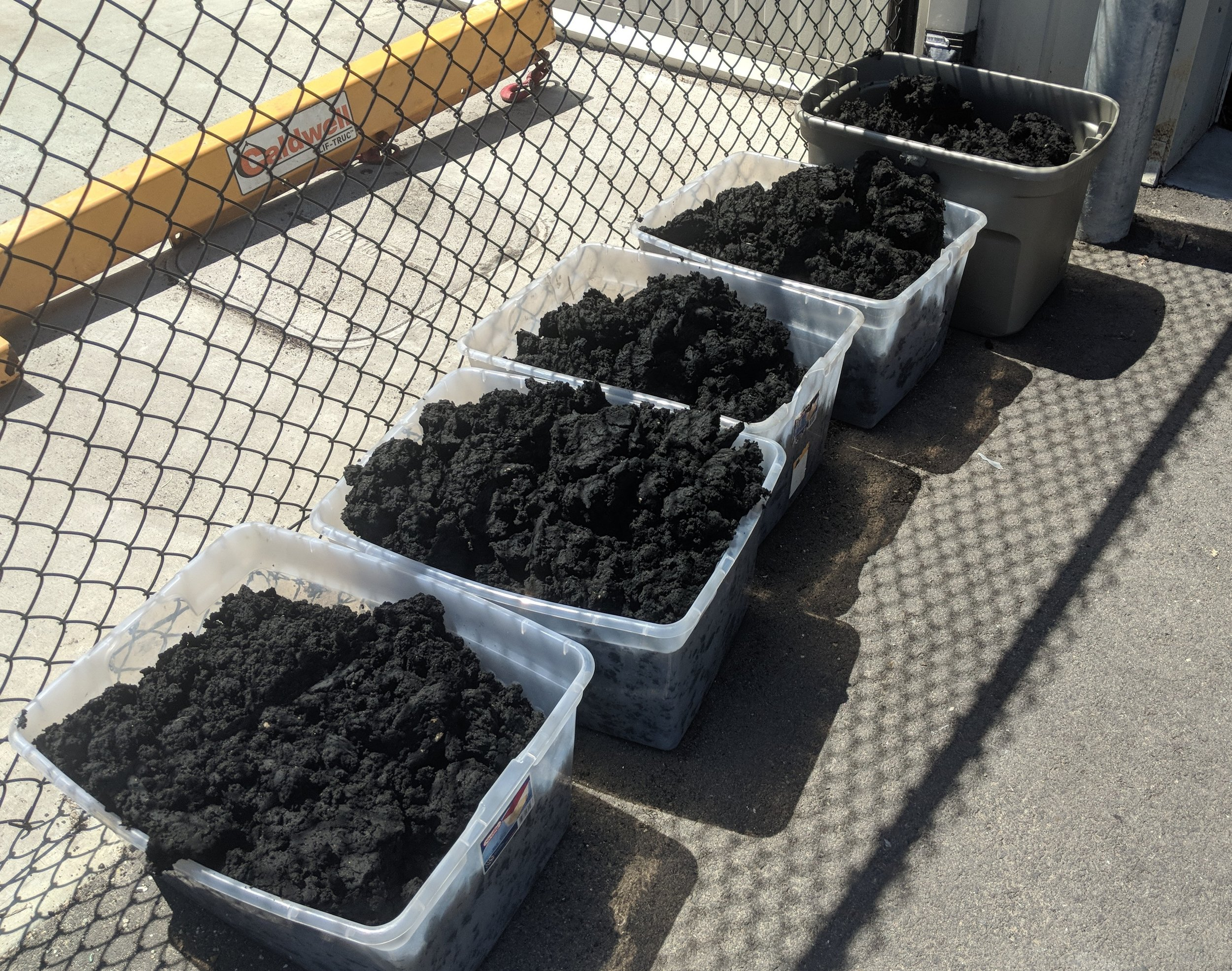 A byproduct of the anaerobic digester is used as a compost by a local landscaper.