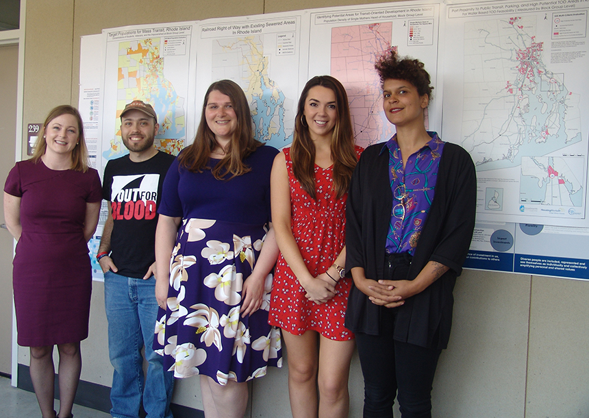 Roger Williams University assistant professor of architecture Ginette Wessel, left, and four of her students, Benjamin Cantor-Stone, Allison Bacon, Jackie Ruggiero and Tracy Jonsson, spent this past semester mapping transit-development opportunities. (Frank Carini/ecoRI News)