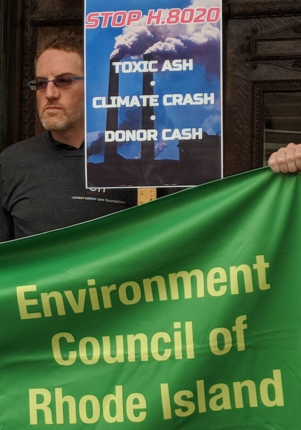 Opponents of a bill that supports the development of an incinerator in Johnston, R.I., recently rallied outside the Statehouse. (Tim Faulkner/ecoRI News)