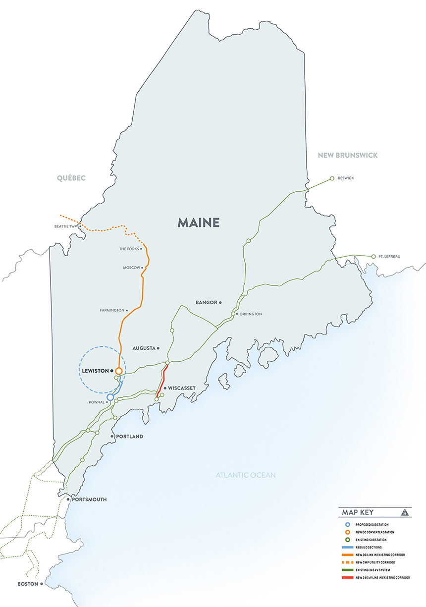 Both the Northern Pass and the New England Clean Energy Connect, above, projects have run into resistance. (NECEC)