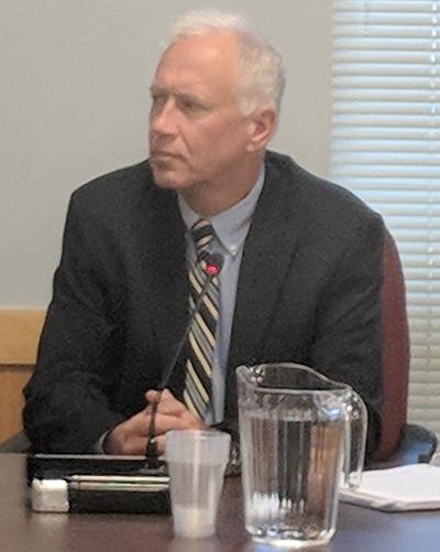 Mark Wiitanen, an engineering witness, answered questions on behalf of Invenergy. (Tim Faulkner/ecoRI News photos)