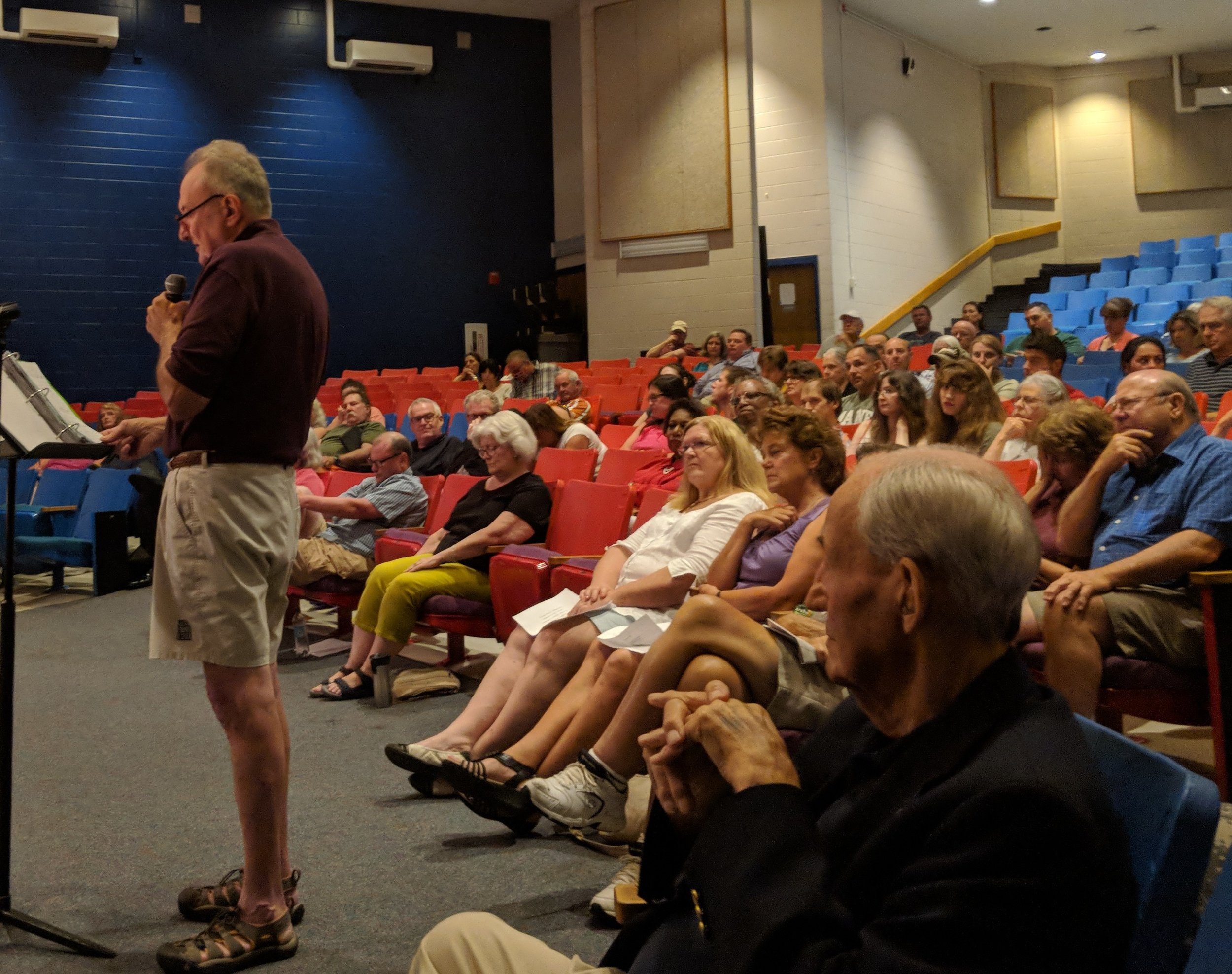 Some 160 residents attended an Aug. 6 public hearing for one of the more than 19 proposed and approved solar projects in Hopkinton, R.I., several of them of the utility-scale variety. (Tim Faulkner/ecoRI News)