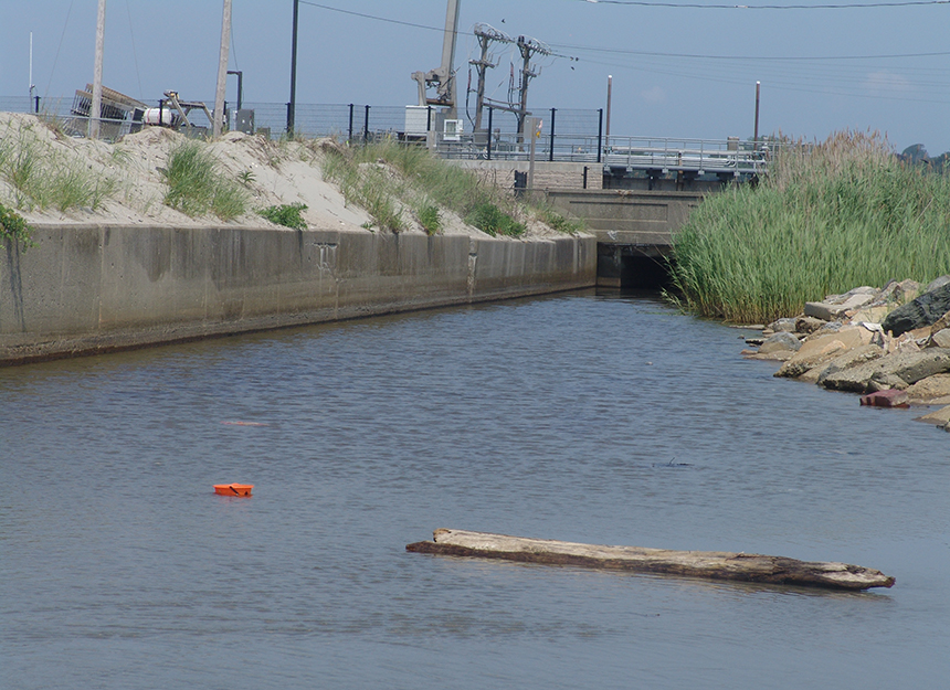 The moat that runs between Easton's and Atlantic beaches from Easton Pond carries with it pollution from stormwater runoff. The impact on the popular beaches was lessened in 2011 when an ultraviolet treatment plant began operating.