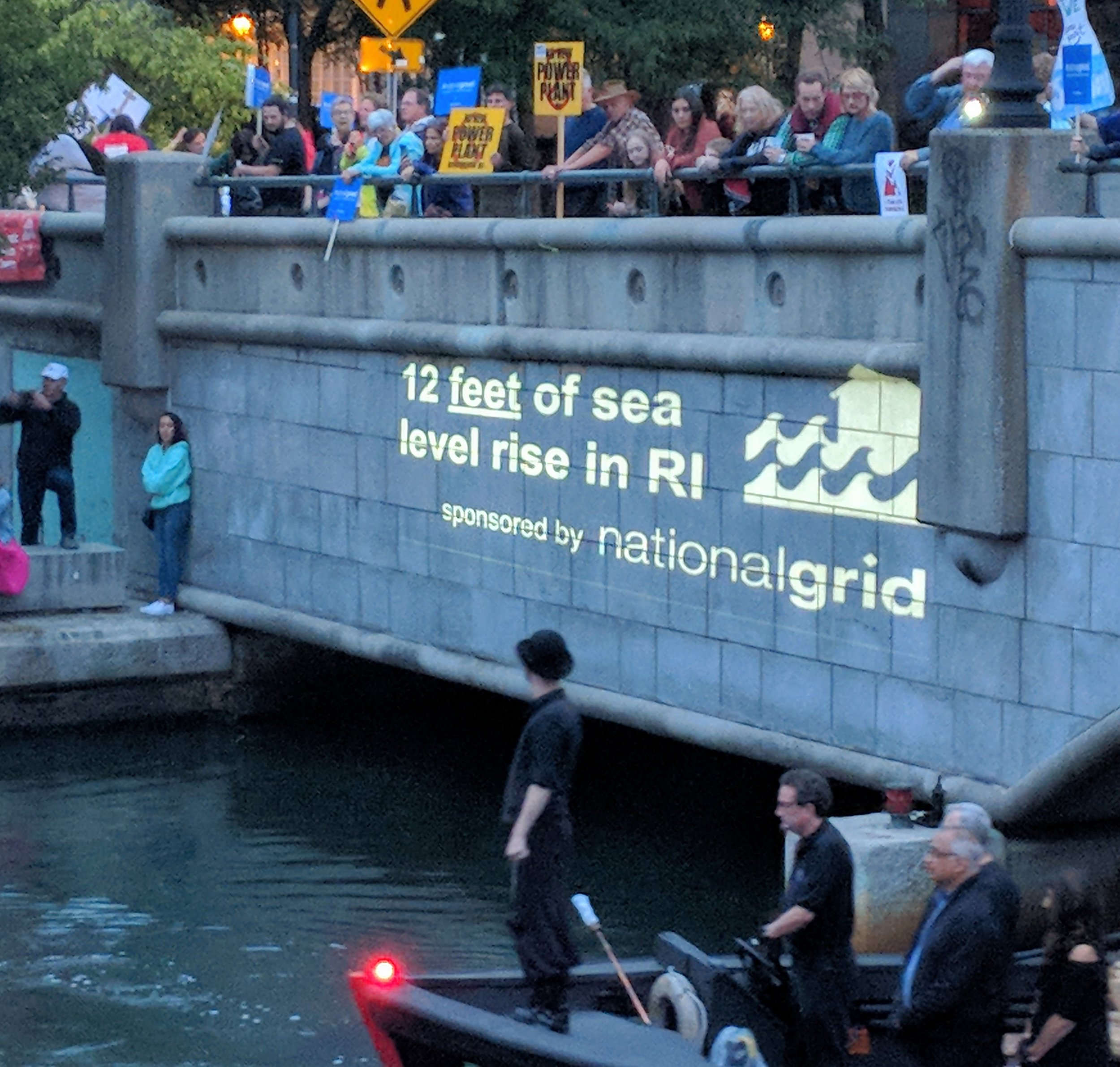WaterFire protesters targeted event sponsor National Grid. (Tim Faulkner/ecoRI News photos)