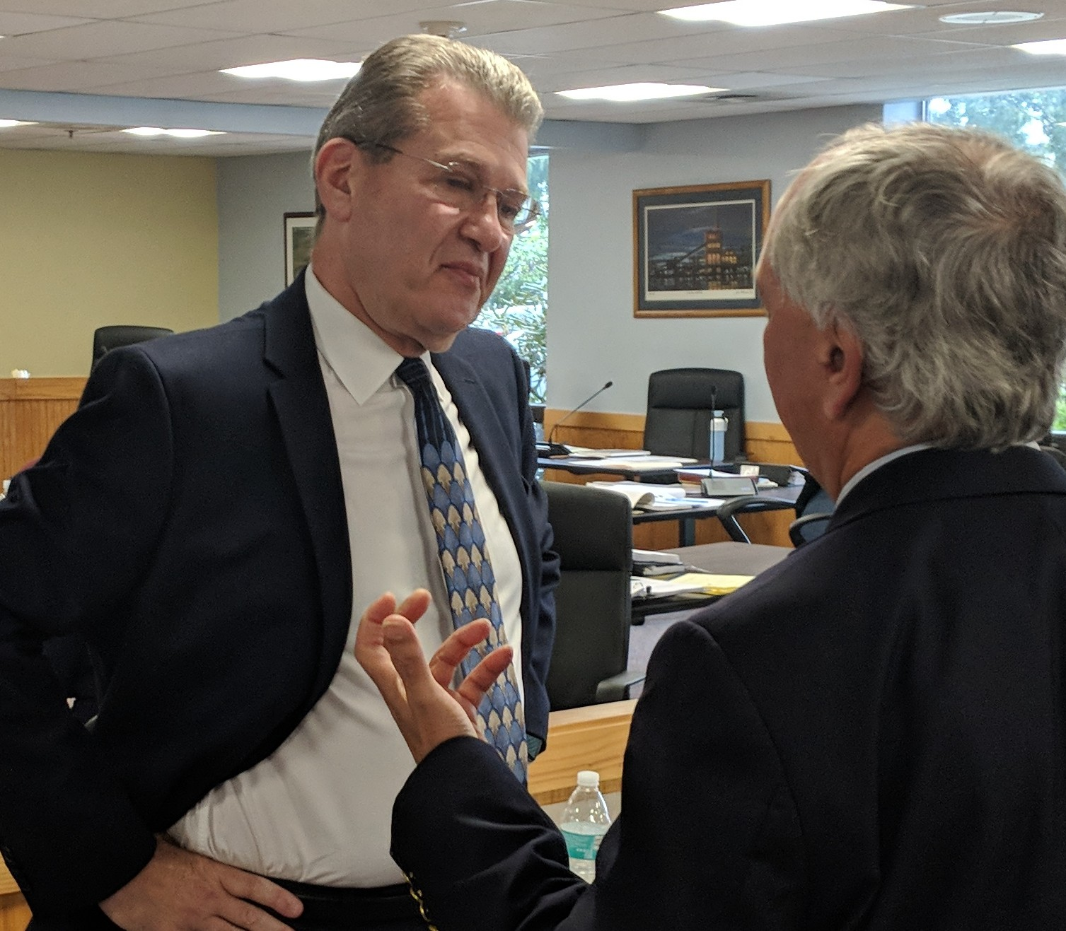 Michael Blazer, left, chief legal counsel for Invenergy, is expected to discuss the Clear River Energy Center situation with attorneys from the Conservation Law Foundation and the town of Burrillville. (Tim Faulkner/ecoRI News)