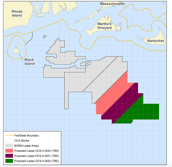 This map shows the Rhode Island and Massachusetts wind-energy areas. (Bureau of Ocean Energy Management)
