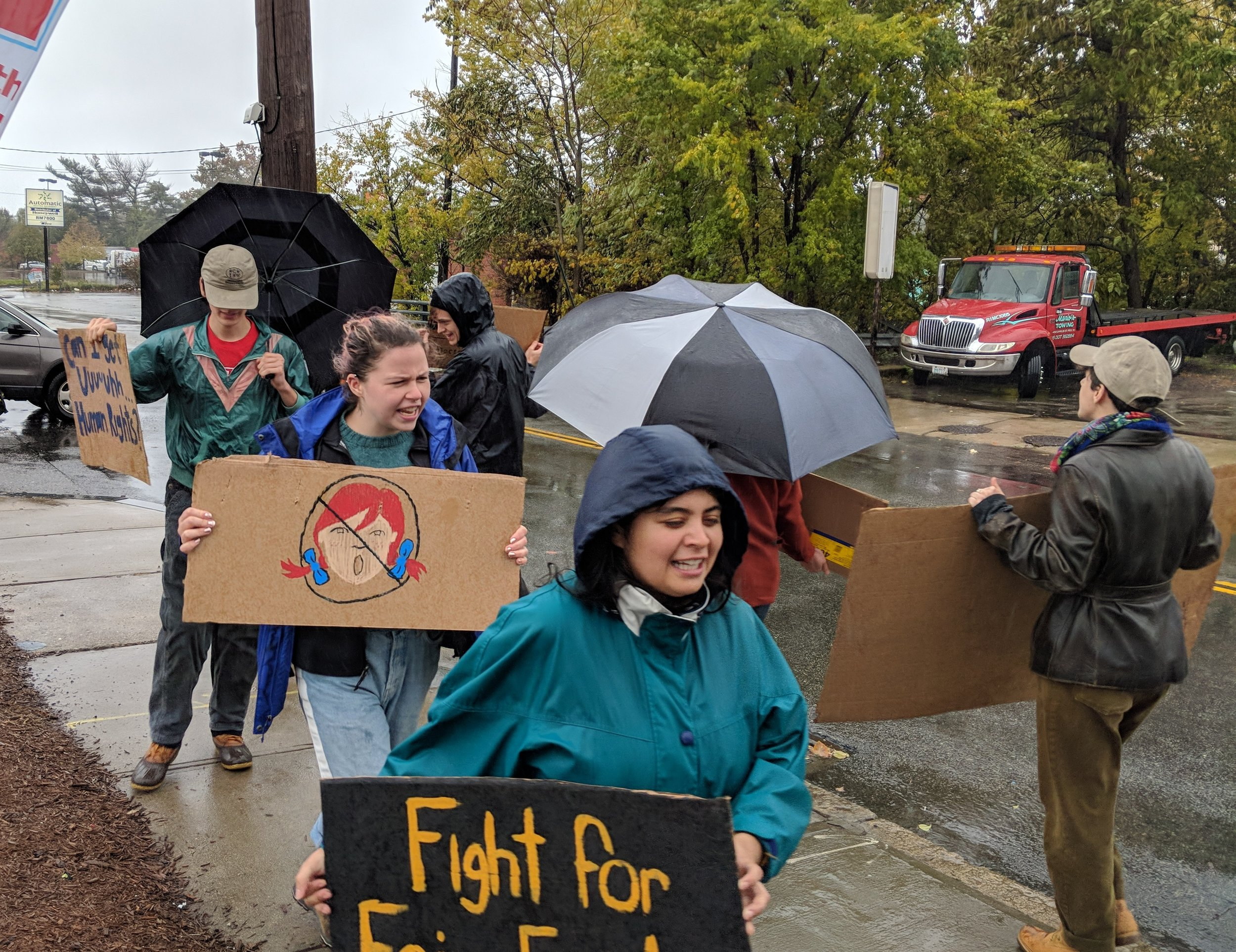 Student protesters outside the Wendy's fast-food restaurant on Charles Street. (Tim Faulkner/ecoRI News)